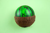 watermelon and coconut on a green background