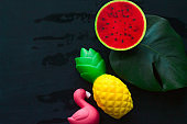 top view monstera green leaf ,flamingo ,pineapple and watermelon squishy toy