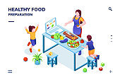 Isometric view on kitchen with family cooking healthy or vegetarian meal. Woman and children at vegan food preparation. Smartphone application page for home recipe or online cookbook.Organic nutrition