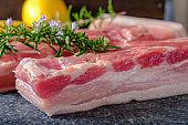Raw thick cut pork belly