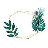 Geometric golden frame with exotic monstera and palm leaves in background. Tropical style stationery design.