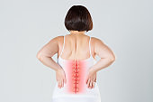 Pain in the spine, a woman with backache, injury in the human back, chiropractic treatments concept