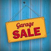 Sign Garage Sale Wooden Background