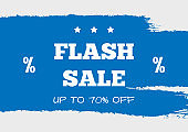 Flash Sale Up To 70% Off. Rectangular discount poster, banner, coupon, flyer. Sketch, grunge, watercolour, paint, splash.
