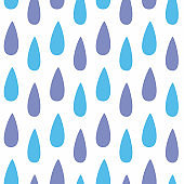 Cute seamless pattern with raindrops. White, blue, purple.