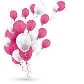 Pink White Balloons Happy Birthday White Cover