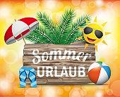 Wooden Board Sommerurlaub Sun Orange Bokeh