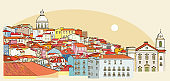 Lisbon cityscape view. Vector illustration