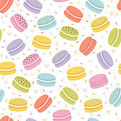 Cute seamless pattern with french macaroons. Hand drawn background with sweet delicious desserts. Fresh bakery