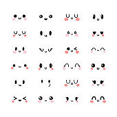 Emotional cute faces in kawaii style. Happy feelings. Emoji icons. Set of funny and lovely kawaii emoticon faces. Smile
