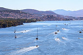 Yachts on the river Krka near Sibenik (Croatia)