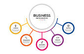 Business infographic template. Timeline concept for presentation, report, infographic and business data visualization. Round design elements with space for text