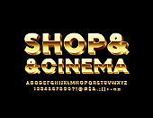 Vector golden banner Shop & & Cinema. 3D luxury Alphabet Letters, Numbers and Symbols