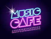 Vector glowing emblem Music Cafe with Neon Font. Illuminated pink Alphabet