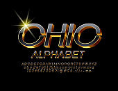 Vector Chic Black and Golden Alphabet. 3D luxury Font