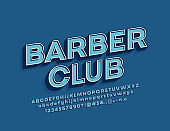 Vector retro design banner Barber Club with 3D Font. Hipster style Alphabet