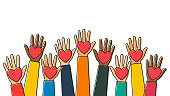 Charity, volunteering and donating concept. Raised up human hands with red hearts. Children's hands are holding heart symbols. Line art style