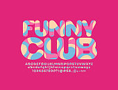 Vector bright emblem Funny Club with artistic textured Font. Colorful pattern Alphabet