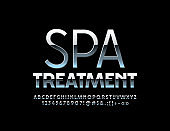 Vector silver sign Spa Treatment. Metallic shiny Alphabet Letters, Numbers and Symbols