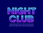 Vector glossy sign Night Club. Modern Uppercase Alphabet Letters and Numbers