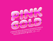 Vector Pink and Gold Alphabet Letters, Numbers and Symbols