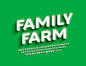Vector bright Sign Family Farm. White and Green Alphabet Letters and Numbers