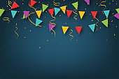 Carnival garland with pennants. Decorative colorful party flags with confetti for birthday celebration, festival