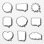 Set of comic speech bubbles. Vintage empty comic bubbles with halftone effect in pop art style. Dialog and discussion, thinking and talking clouds