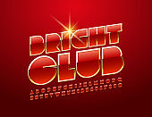 Vector modern emblem Bright Club with chic Font. Red and Golden Alphabet set