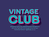 Vector bright banner Vintage Club with 3D Font. Isometric retro Alphabet