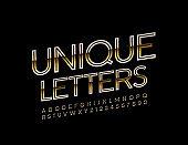 Vector Unique Golden Alphabet Letters, Numbers and Symbols