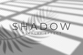 Shadow overlay effect. Vector shadow and light overlay effect, natural lighting scene. Mockup of transparent shadow from windows and palm leaves