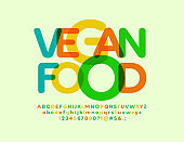 Vector bright sign Vegan Food with transparent modern Font. Trendy colorful Alphabet