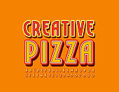 Vector bright Banner Creative Pizza with Font. Stylish Uppercase Alphabet