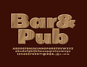Vector wooden emblem Bar & Pub with Alphabet Letters, Numbers and Symbols