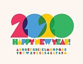 Vector bright watercolor Greeting Happy New Year 2020 with Alphabet. Creative colorful Font