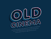 Vector bright banner Old Cinema with 3D vintage Font. Trendy Alphabet set