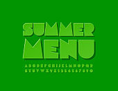 Vector creative sign Summer Menu with trendy Alphabet Letters and Numbers