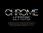 Vector Chrome Letters, Numbers and Symbols. Thin elegant Alphabet
