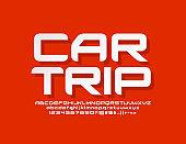 Vector modern emblem Car Trip with original Alphabet