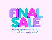 Vector colorful emblem Final Sale with creative Font. Transparent Alphabet set