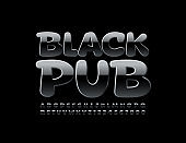 Vector Glossy Emblem Black Pub. Luxury stylish Alphabet Letters, Numbers and Symbols