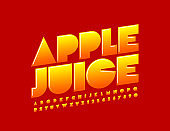 Vector bright sign Apple Juice with creative Font. Bright gradient Alphabet