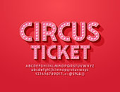 Vector bright Circus Ticket with light bulb red Font. Vintage electric Alphabet