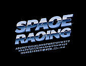 Vector Chrome text Space Racing with reflective Font. Glittering metallic Alphabet