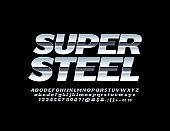 Vector super Steel Alphabet set. Reflective Chrome Font