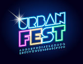 Vector bright neon poster Urban Fest with glowing Uppercase Alphabet Letters and Numbers