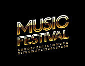 Vector shiny poster Music Festival. Golden Alphabet Letters and Numbers
