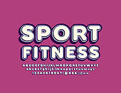 Vector trendy sign Sport Fitness with 3D retro Alphabet Letters, Numbers and Symbols