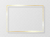 Golden frame with light effect. Golden shiny frame or border with glare and glitters isolated on transparent background